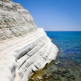 White Cliff and Blue Water at Scala dei Turchi Royalty Free Stock Photo