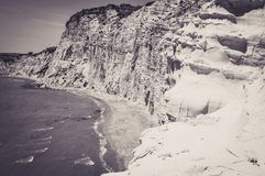 White Cliff and Blue Water at Scala dei Turchi. In Sicily Royalty Free Stock Image