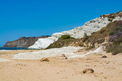 The white cliff called Scala dei Turchi in Sicily, near Agrige. Nto. Italy, travel destination Royalty Free Stock Photos