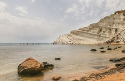 The white cliff called `Scala dei Turchi` in Sicily Stock Images