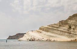 The white cliff called `Scala dei Turchi` in Sicily Royalty Free Stock Photos
