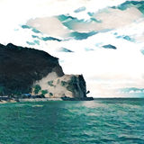 White cliff and green sea landscape for background, square image with place for text. Royalty Free Stock Photography
