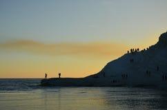 White cliff of Scala dei Turchi (Turkish Staircase) near Agrigento, Sicily Stock Photos