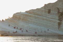 White cliff of Scala dei Turchi (Turkish Staircase) near Agrigento, Sicily Royalty Free Stock Photos