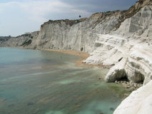 White cliff - Scala dei Turchi. View of the location called Scala dei Turchi (Staircase of Turks); it is a white cliff near the city of Agrigento, Sicily. (Italy Stock Photo