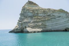 White Cliff of Milos Greece stock photography