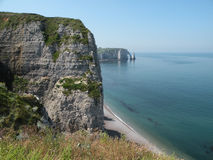 White Cliffs. White vertical cliffs on the coast of France near the town of Etretat in Normandy Royalty Free Stock Photo