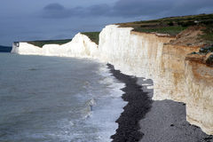 White cliffs. Of Eastbourne found in an impressing mood of light. The last sunbeams before the storm were illuminating the cliffs Royalty Free Stock Photos
