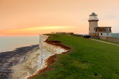 White cliffs, Belle Tout Lighthouse East Sussex England Stock Image