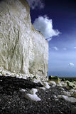 White cliffs at Birling Gap. Against a blue sky Stock Photo