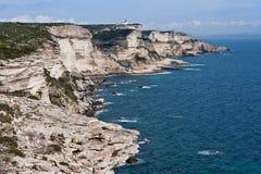 White cliffs of Bonifacio, Corsica. Beautiful white limestone cliffs of Bonifacio, Corsica Royalty Free Stock Photos