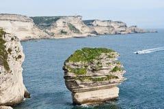 White cliffs of Bonifacio, Corsica. Beautiful white limestone cliffs of Bonifacio, Corsica Stock Photo