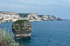 The white cliffs of Bonifacio. The white limestone cliffs of Bonifacio Stock Photography
