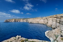 White cliffs at the coast of Gozo Island Royalty Free Stock Photos
