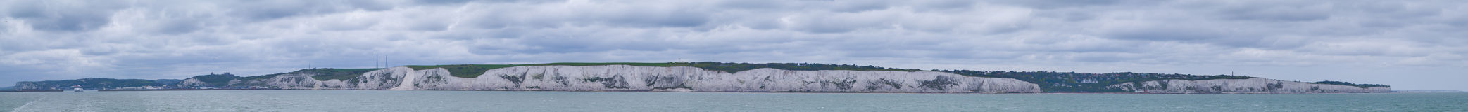 White cliffs of Dover. Panorama of the famous white cliffs of Dover Stock Photo