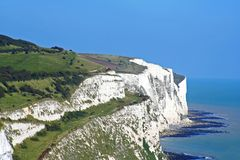 White Cliffs of Dover. White, chalk cliffs of Dover on a clear blue day stock images