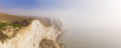 The white cliffs of Dover on a foggy morning Stock Image