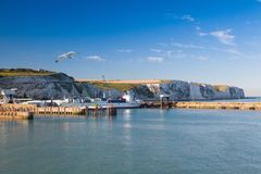 White cliffs and Dover harbor along the coast of English channel Royalty Free Stock Photography