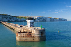 White cliffs and Dover harbor along the coast of English channel Stock Image
