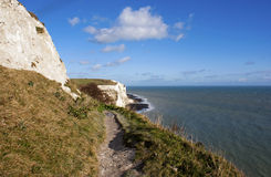 White cliffs of Dover by the sea. View on the White Cliffs of Dover and sea, United Kingdom Stock Photography