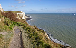 White cliffs of Dover by the sea. View on the White Cliffs of Dover and sea, United Kingdom Stock Photo