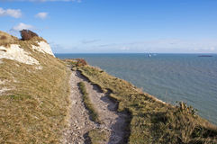 White cliffs of Dover by the sea. View on the White Cliffs of Dover and sea, United Kingdom Royalty Free Stock Photo