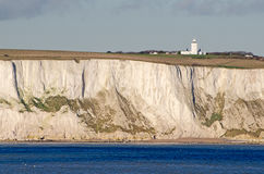 White Cliffs of Dover and South Foreland lighthous Royalty Free Stock Photography