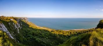 Dover White Cliffs panoramic view Kent Southern England UK royalty free stock photos