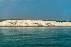 White cliffs of Dover. View to the white cliffs of Dover from the ferry crossing the Channell Stock Photo