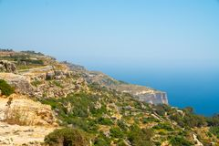 White cliffs on the island of Malta.  Royalty Free Stock Photo