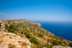 White cliffs on the island of Malta. Island near Valletta and Marsaxlokk village Stock Photo