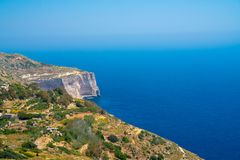 White cliffs on the island of Malta. Island near Valletta and Marsaxlokk village Stock Photos