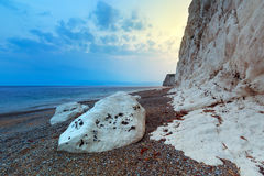 White cliffs on the Jurassic Coast of Dorset at sunset Royalty Free Stock Photo