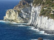 White cliffs looking over the sea in the island of Ponza in Italy. stock images