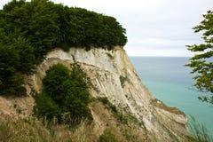 The White Cliffs of Moen in Denmark. The White Cliffs of Moen Denmark nature attraction by the Baltic Sea Royalty Free Stock Image