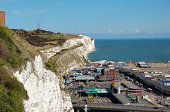 White cliffs and the port of Dover. In England Royalty Free Stock Photography