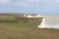 White cliffs at Seven Sister. The chalk cliffs called the 7 sisters on the south coast of England Stock Photography