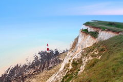 White  cliffs seven sisters Beachy Head lighthouse, part of South Downs National Park england Royalty Free Stock Photo