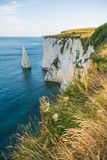 White Cliffs with Turquoise Atlantic Ocean on a Sunny Day stock image