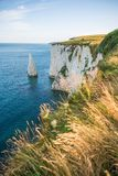 White Cliffs with Turquoise Atlantic Ocean on a Sunny Day stock photography