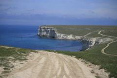 White cliffs. In the  Western coast of Crimea Royalty Free Stock Image