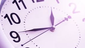 White clock with black numbers so close, toned royalty free stock images