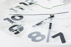 White clock is broken glass  Stock Photography