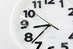 White clock is broken glass isolated Stock Photos