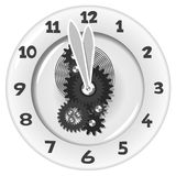 White clock. Five minutes to twelve Stock Images