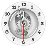 White clock. Five minutes to twelve Royalty Free Stock Photos