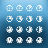 White clock icons clip-art on color background Royalty Free Stock Photo