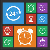 White clock icons set Royalty Free Stock Photography