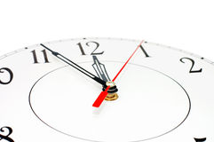 White clock showing time about nine isolated. Time conept Stock Photos