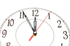 White clock showing time about nine isolated Royalty Free Stock Image